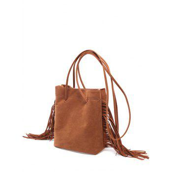 Faux Suede Stitching Fringe Crossbody Bag