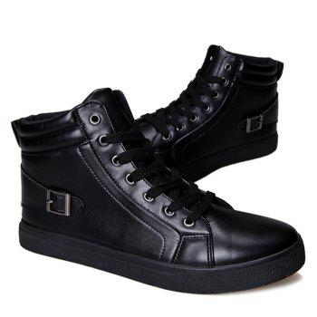 Buckle Strap High Top Tie Up Casual Shoes - BLACK 41