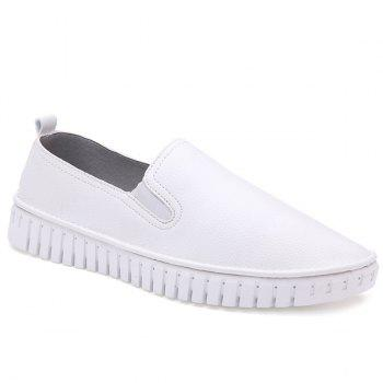 Stitch Round Toe Leather Slip On Casual Shoes
