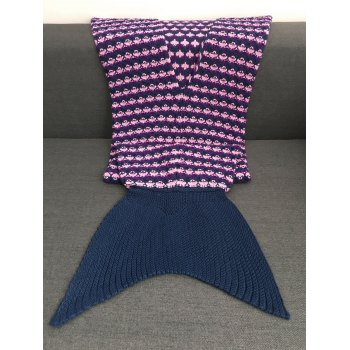 Comfortable Printing Design Crochet Knitting Mermaid Blanket For Kids - PURPLISH BLUE S