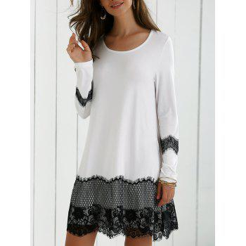 Long Sleeve Lace Splicing Comfy Dress - WHITE AND BLACK M