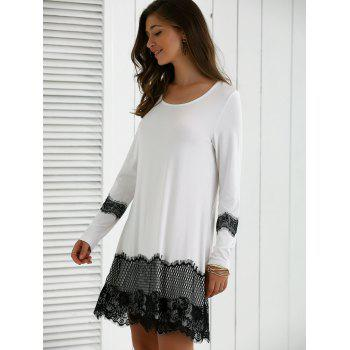 Long Sleeve Lace Splicing Comfy Dress - WHITE/BLACK XL