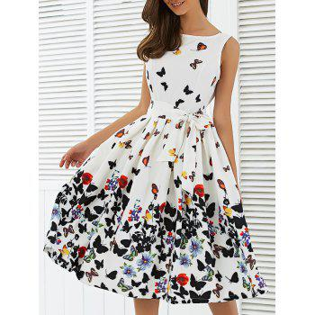 Sleeveless Floral Print Self Tie A Line Dress
