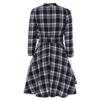 Pied de col Tie-Waist Plaid Dress - Bleu Cadette L