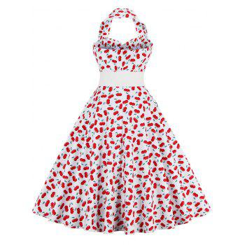 Cherry Print Halter Vintage Swing A Line Dress - Rouge XL
