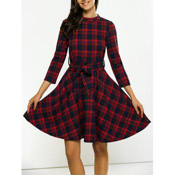 17 Off 2019 Stand Collar Tie Waist Plaid Dress In Red