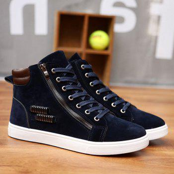 Metal Zipper Tie Up Suede High Top Casual Shoes