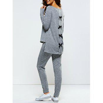 Bowknot Embellished Asymmetrical Sports Suit