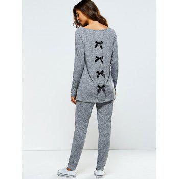Bowknot Embellished Asymmetrical Sports Suit - GRAY M