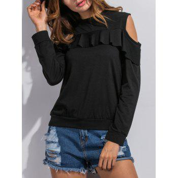Flounce Cut Out Sweatshirt - BLACK S