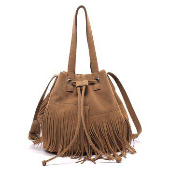 Faux Suede Fringe Drawstring Shoulder Bag