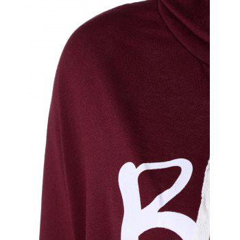 Christmas Snowflake Letter Print Hoodie - WINE RED XL