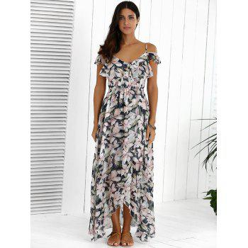 Floral Maxi Chiffon Beach Dress with Slit - COLORMIX XL