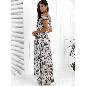 Floral Maxi Chiffon Beach Dress with Slit - COLORMIX L