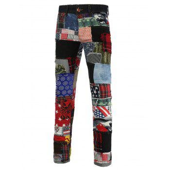 Rivet Embellished Holes and Cat's Whisker Zipper Fly Narrow Feet Jeans - COLORMIX COLORMIX