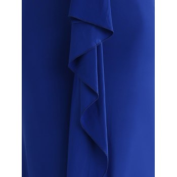 Flounce Long Wedding Party Bridesmaid Dress - ROYAL BLUE L