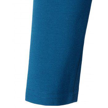 Long Sleeves Topstitching Pleated Dress - BLUE M