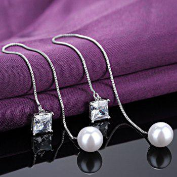 Faux Pearl Crystal Wedding Jewelry Earrings - WHITE