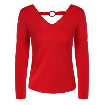Double-Wear Metal Embellished Slimming T-Shirt - RED 2XL