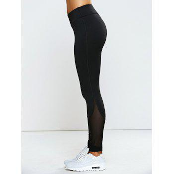 High Waisted Mesh Spliced Yoga Leggings Pants - BLACK M