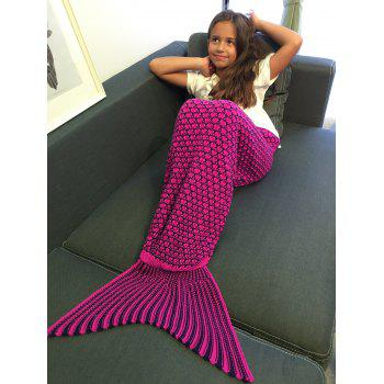 Super Soft Ellipse Pattern Crochet Knitting Mermaid Tail Blanket For Kids - ROSE RED S