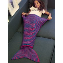 Crochet Knitting Stripe Pattern Kid's Fish Tail Design Blanket