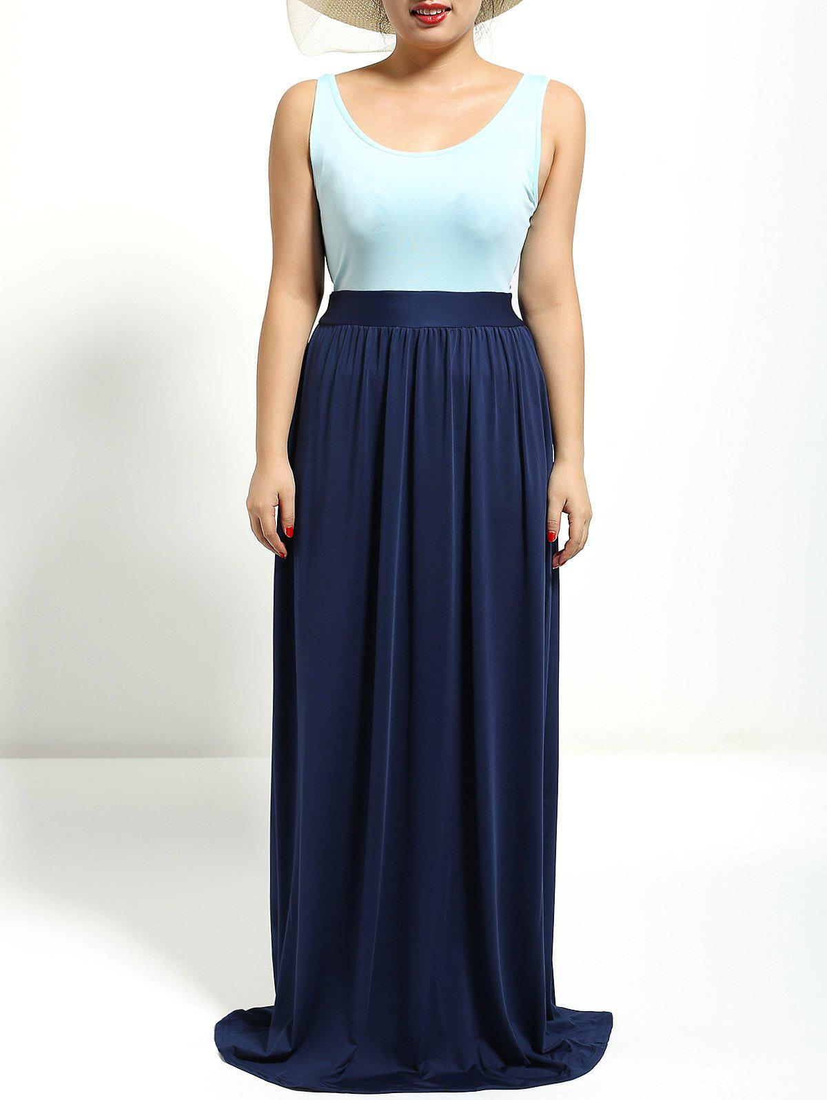 Color Patchwork High Waist Maxi DressWomen<br><br><br>Size: XL<br>Color: DEEP BLUE