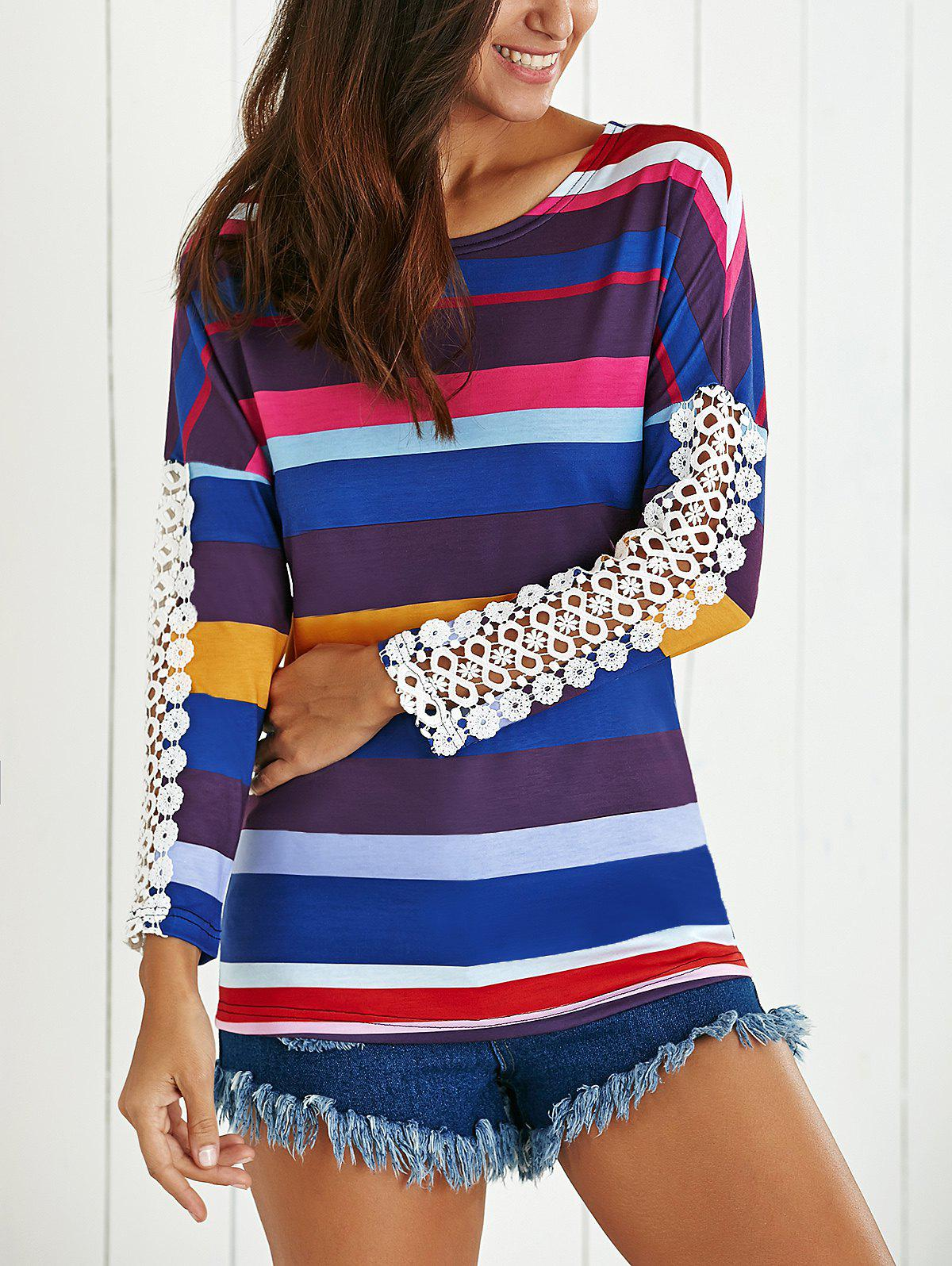 Striped Spliced ​​dentelle T-shirt - multicolorcolore S