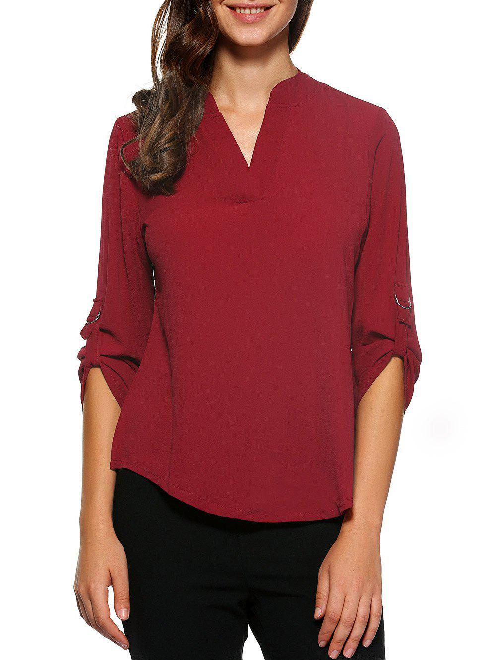 D-Ring Roll Sleeve Haut Bas Blouse - Rouge vineux 2XL