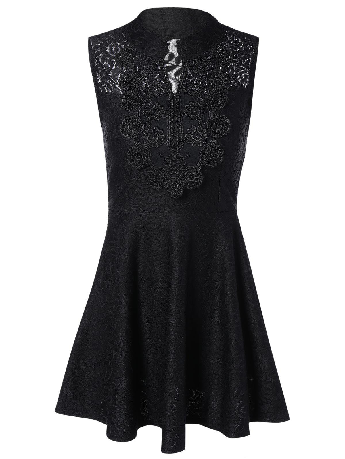 Buy Sleevless Applique Laciness Dress BLACK