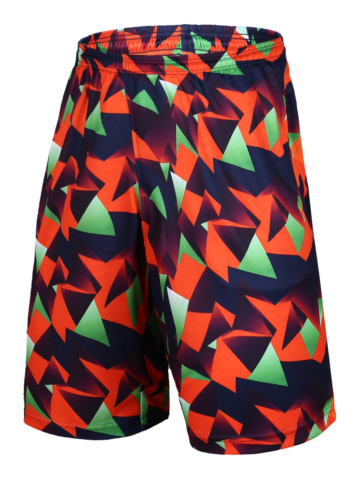 Elastic Waist Geometric Print Color Block Basketball Shorts - COLORMIX M