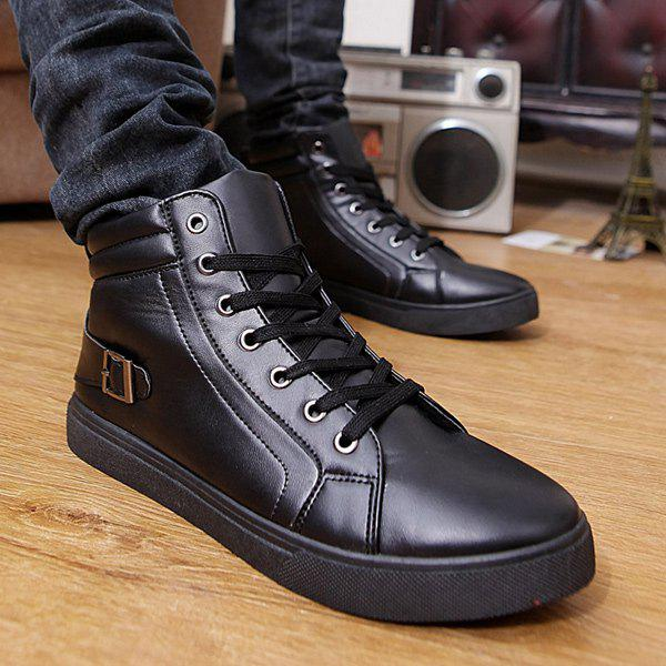 Buckle Strap High Top Tie Up Casual ShoesShoes<br><br><br>Size: 41<br>Color: BLACK