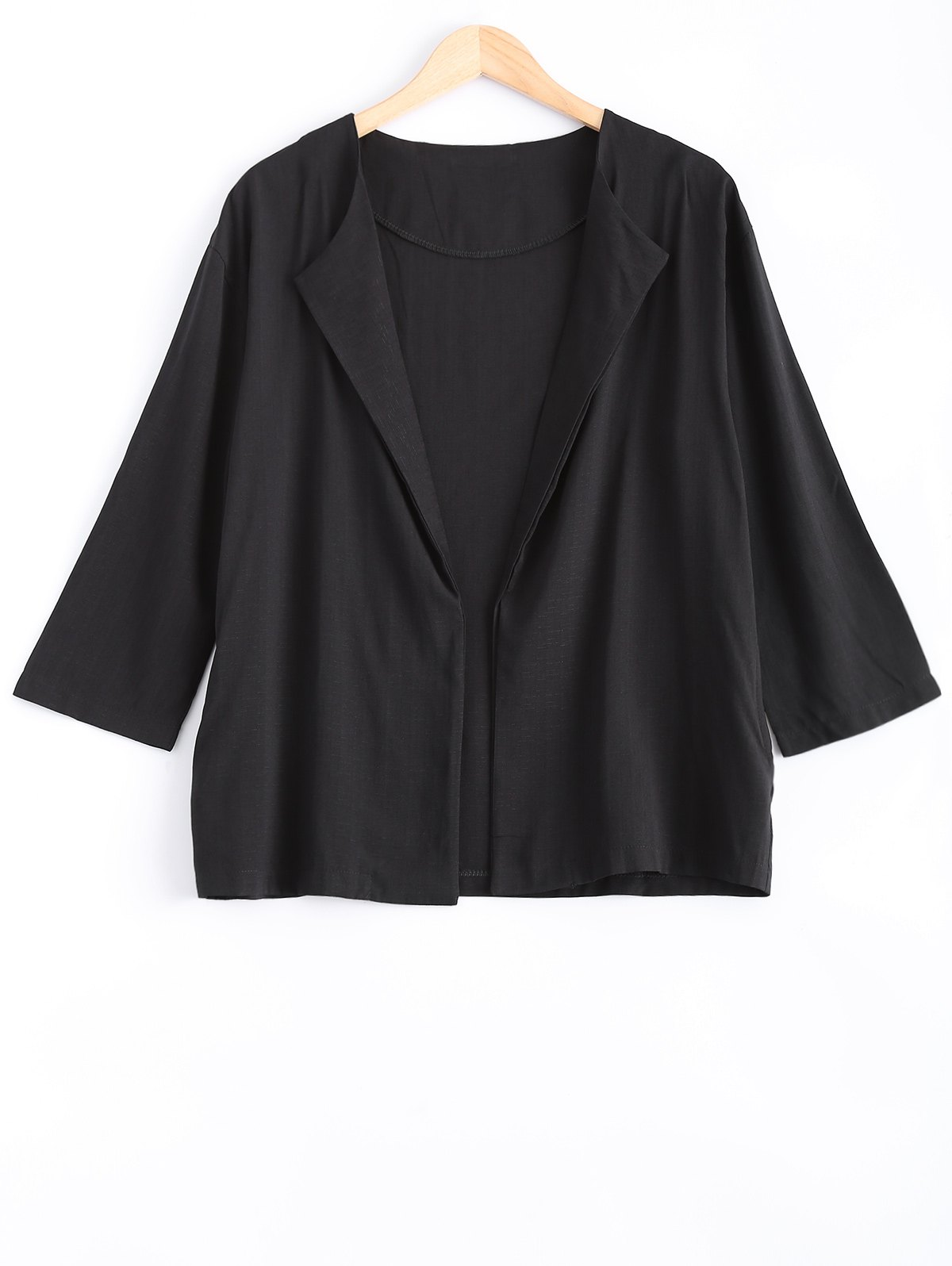 Pocket design ample en lin Blazer - Noir XL