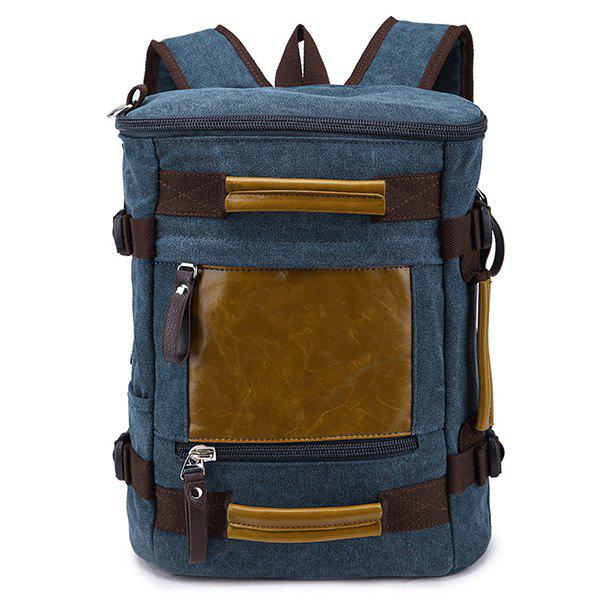 Color Block Splicing Zippers Backpack - Bleu Foncé