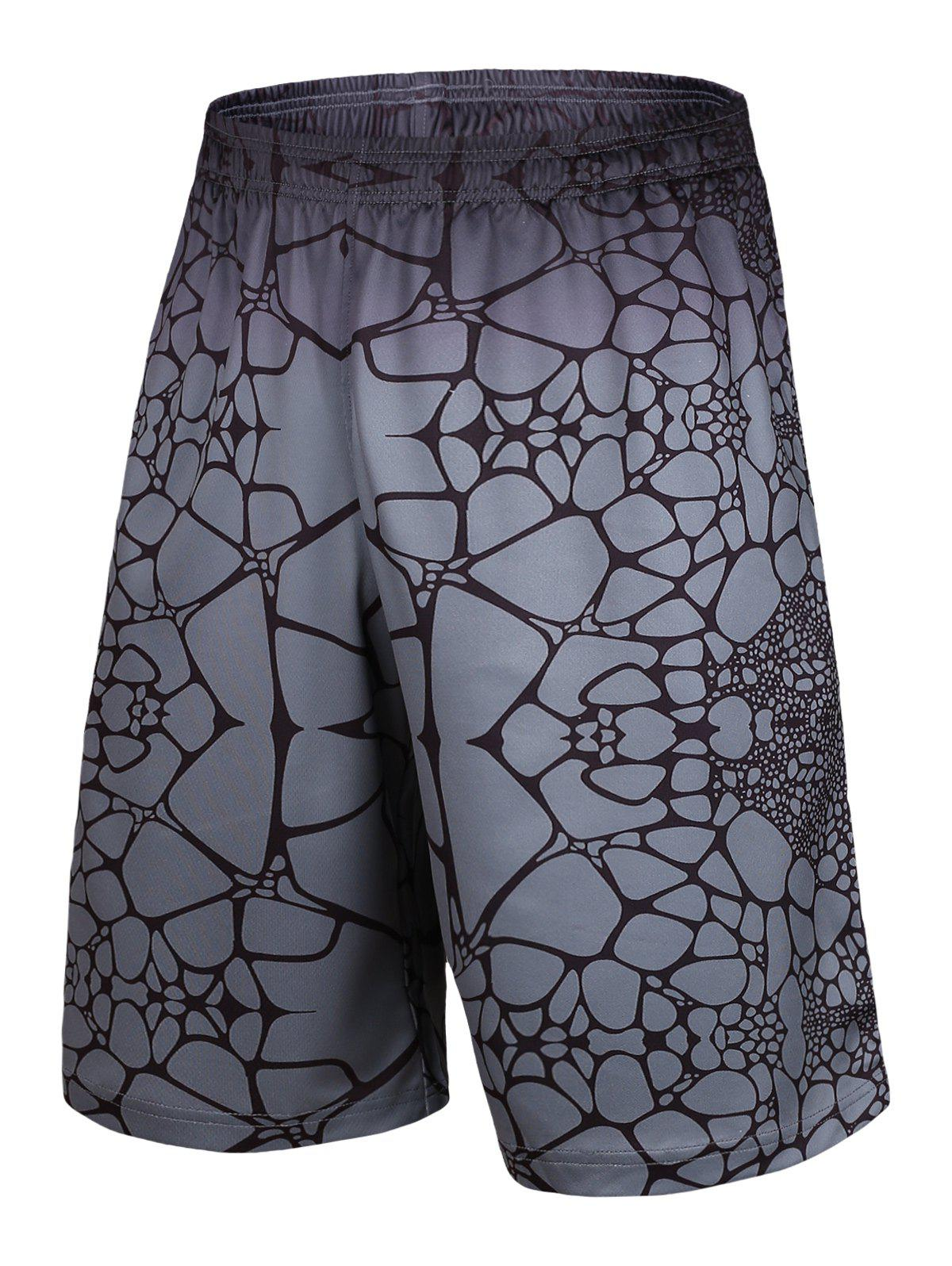 Elastic Waist Irregular Geometric Print Basketball Shorts - GRAY M