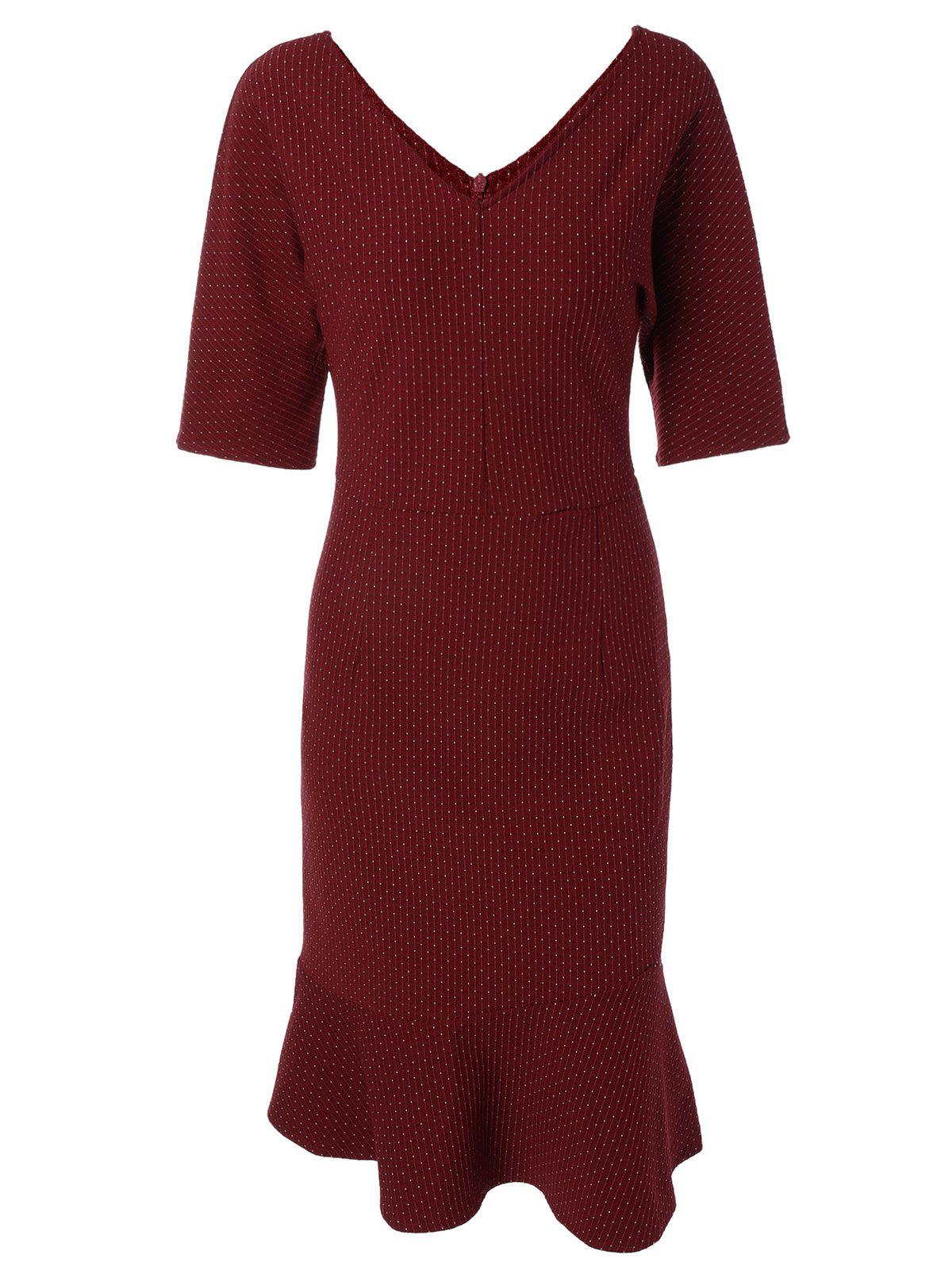 Buy V-Neck Back V Dot Print Mermaid Dress WINE RED