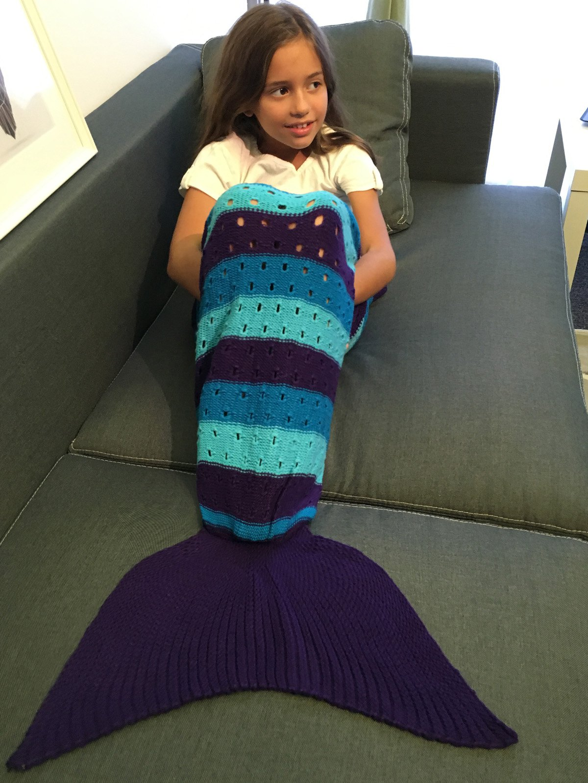 Crochet Knitting Hollow Out Kid  's Mermaid Tail Blanket - multicolore