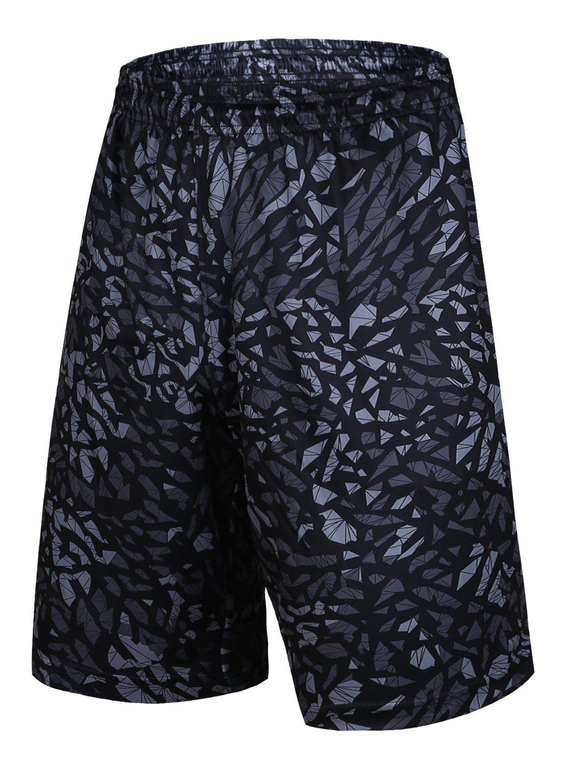 Crushed Ice Geometric Pattern Elastic Waist Basketball Shorts - BLACK S