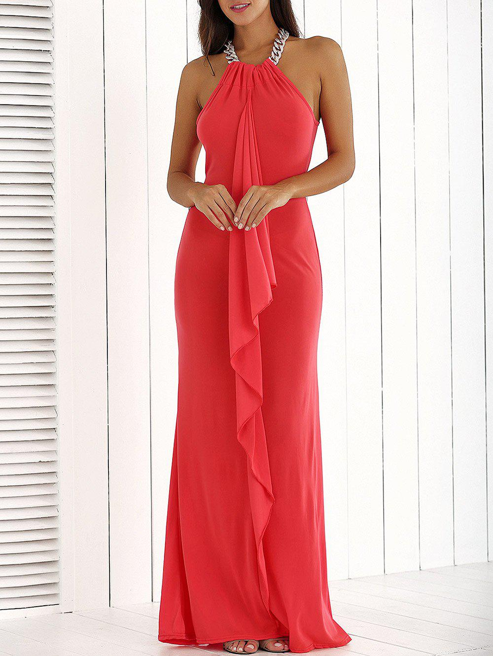 Flounce Long Wedding Party Bridesmaid Dress - RED M