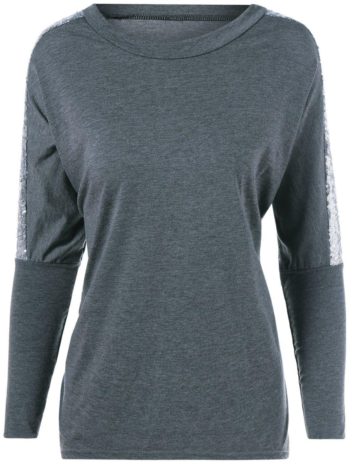Sequin Jewel Neck Long Sleeve T-Shirt - GRAY 2XL