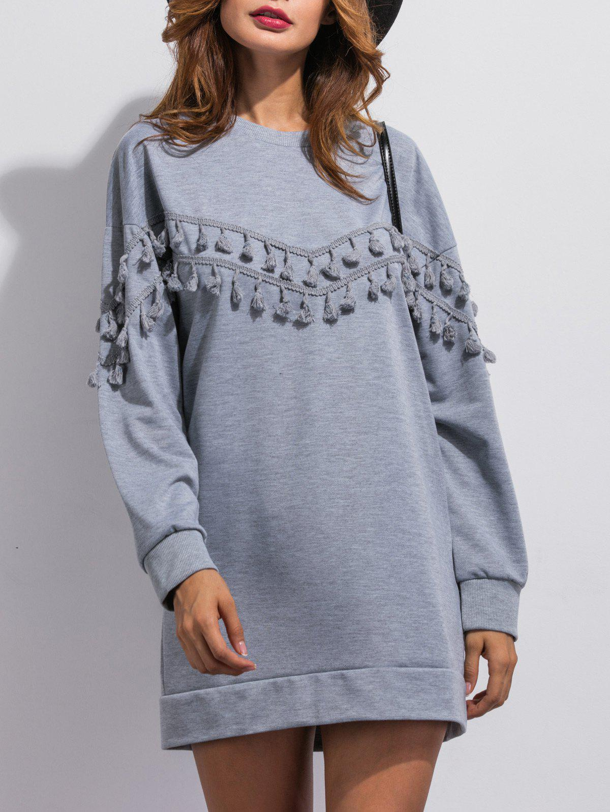 Round Neck Fringed Loose-Fitting Dress - GRAY S