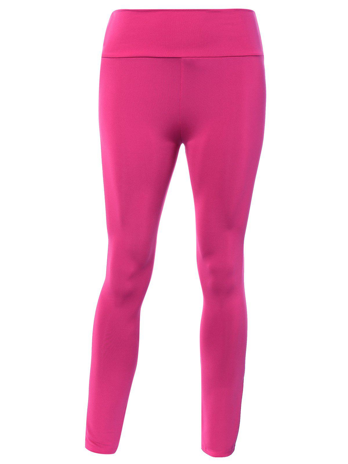 Stretched High Waisted Yoga Leggings - ROSE RED ONE SIZE