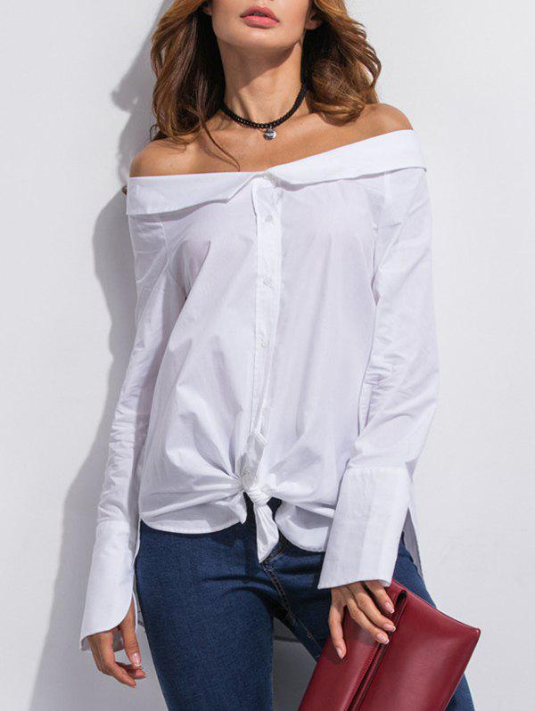 Off The Shoulder Buttoned Slit Blouse - WHITE XL