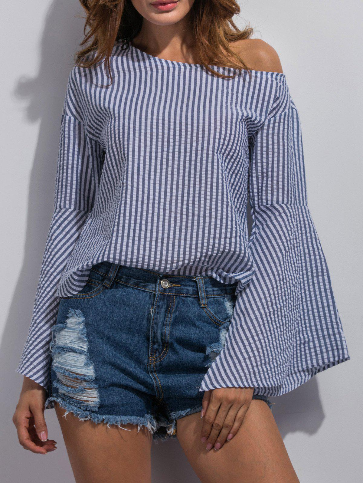 Bell Sleeve Striped Blouse - STRIPE S