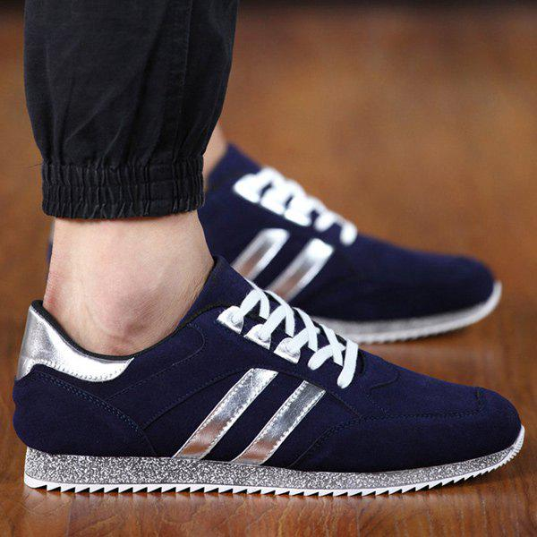 Sequined Tie Up Suede Casual Shoes