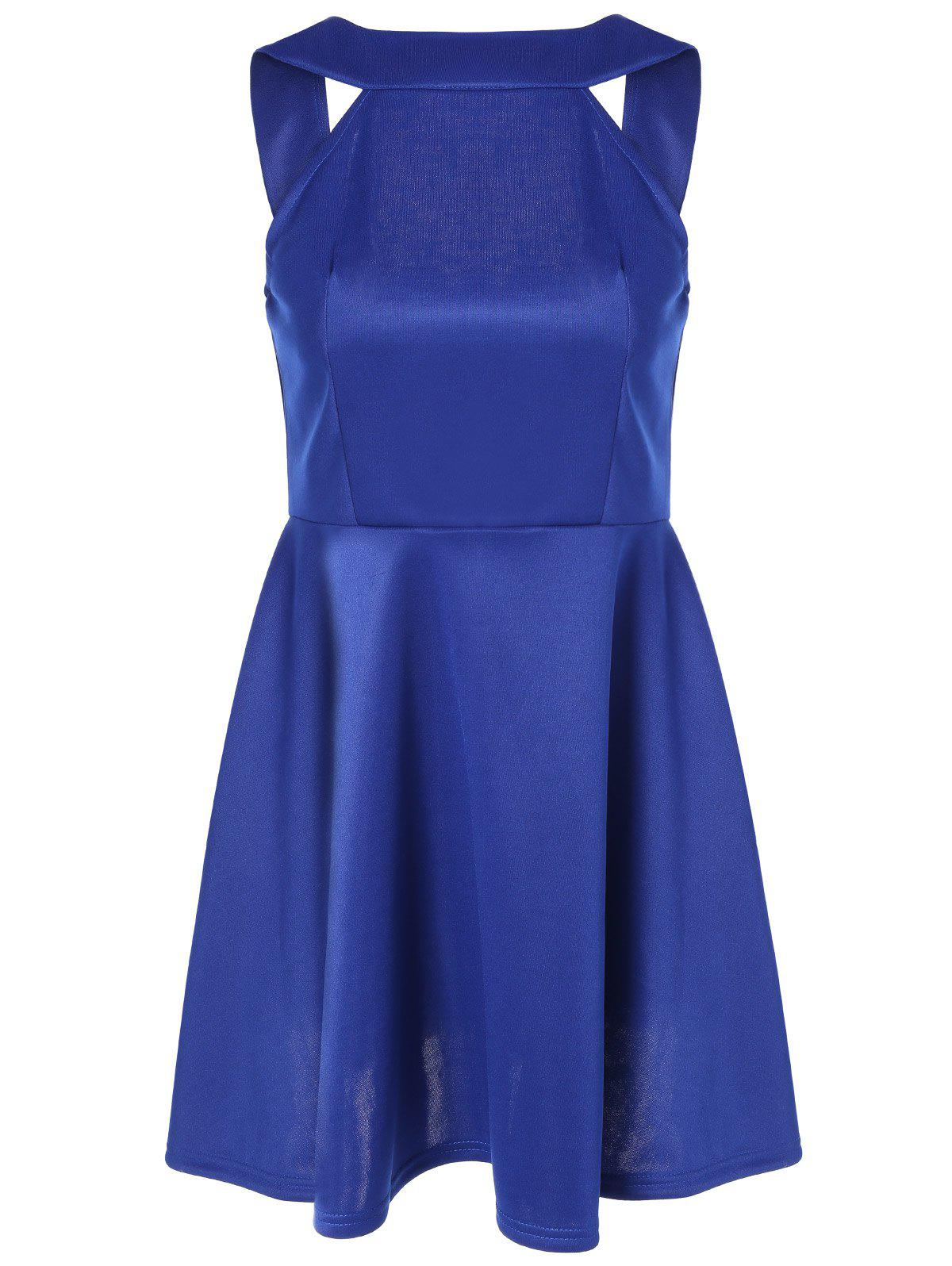 Sleeveless Backless Fit and Flare Dress