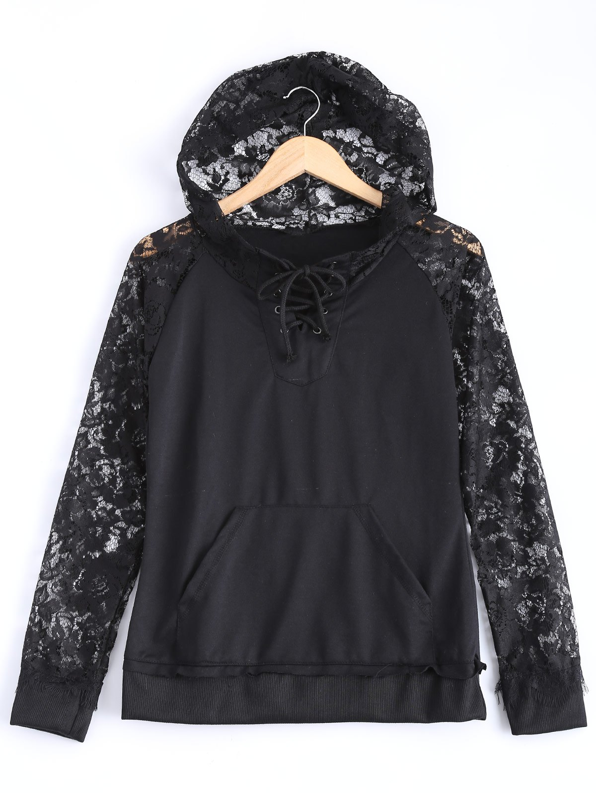 Hooded Lace Splicing HoodieWomen<br><br><br>Size: XL<br>Color: BLACK