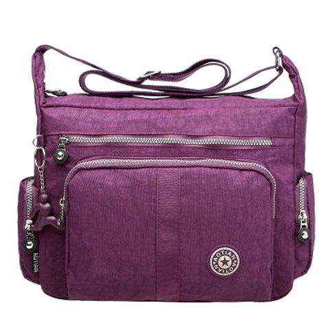 Zipper Metallic Stitch Nylon Crossbody Bag - DEEP PURPLE