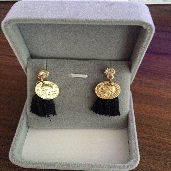 Pair of Matte Coin Tassel Earrings - BLACK