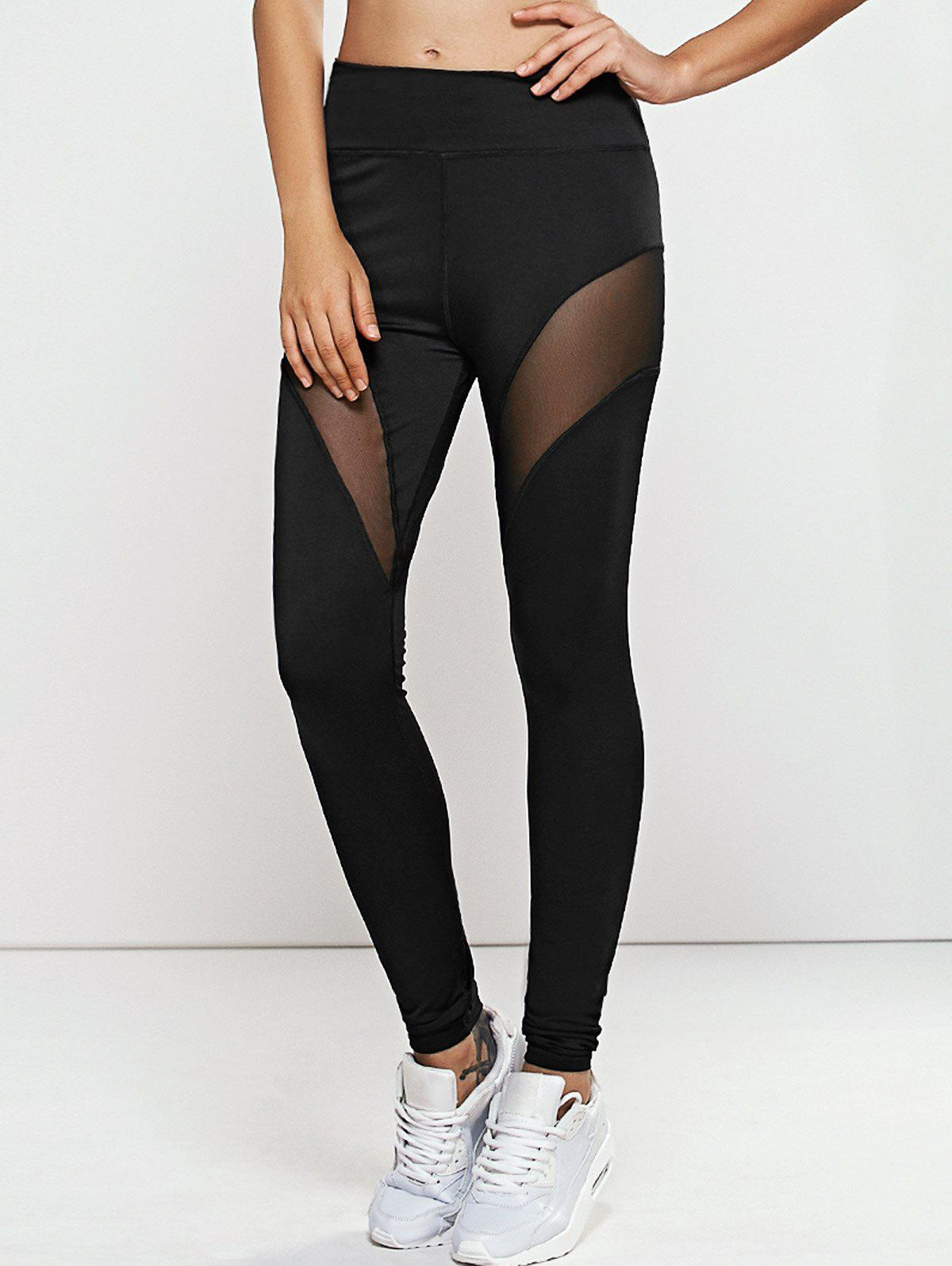 Quick -Dry Yoga Leggings Pants with Mesh - BLACK M